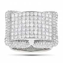 14K Mens Pave Diamond Ring 4.60ct