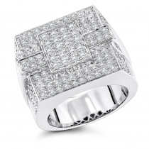 14K Gold Mens Pave Diamond Ring 4 Carats of Diamonds