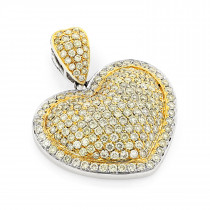 14K Natural Yellow Diamond Heart Pendant 2.03ct