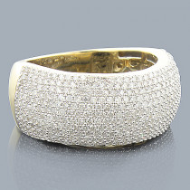 14K Gold Pave Diamond Band for Women 9mm Wide 1.2ct