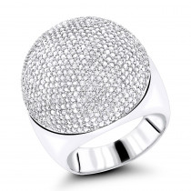 14K Pave Diamond Dome Ring 2.2ct