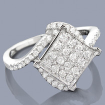 14K Pave Diamond Engagement Ring 0.63ct