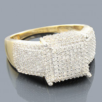 14K Gold Pave Diamond Engagement Ring 1.24ct