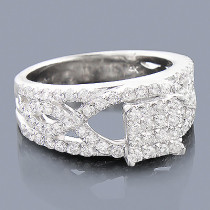 14K Pave Diamond Engagement Ring 1.39ct