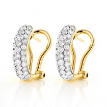 14K Pave Diamond Hoop Huggie Earrings 1.04ct