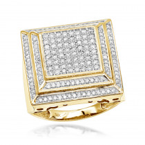 14K Gold Pave Mens Diamond Ring 2ct