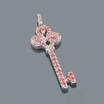 14K Pink Diamond Key Pendant 2ct