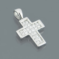 Small 14K White Gold Princess Cut Diamond Cross Pendant 0.50ct