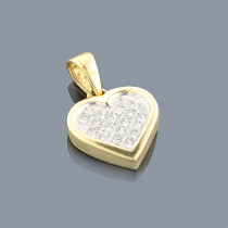 14K Gold Princess Cut Diamond Heart Pendant 0.35ct