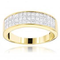 14K Gold Princess Cut Diamond Wedding Band Invisible Set Ring 1.25ct
