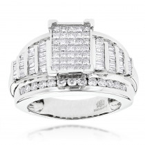 14K Princess Round Baguette Diamond Engagement Ring 1.75ct