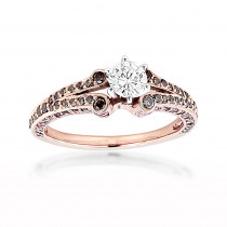14K Rose Gold Unique Ladies White Brown Diamond Engagement Ring 1.2ct