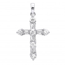 14K Round Diamond Cross Pendant 1.85ct