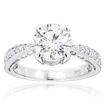 14K Gold Round Diamond Engagement Ring 1 3/4ct