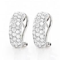 Small 14K Gold Round Pave Diamond Hoop Earrings 1.87ct