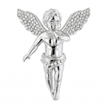 14K Solid Gold Mini Diamond Angel Pendant 0.7ct Small Baby Angel Charm