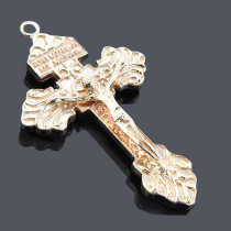 14K Solid Yellow Gold Cross Pendant