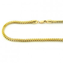 14K Solid Yellow White Gold Franco Chain 30-40in,3.5mm