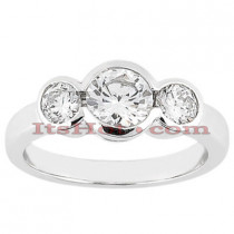Thin 14K Three Stone Diamond Ring 0.80ct