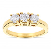 14K Gold Three Stone Diamond Ring Past Present Future 1 Carat