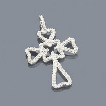 14K Unique Diamond Cross Pendant 0.34ct