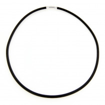 14K White Gold and Rubber Necklace