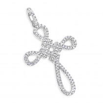 Small 14K Yellow or White Gold Cross Pendant for Women with Diamonds 0.2ct