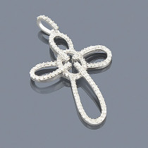14K White Gold Cross Pendant 0.34ct