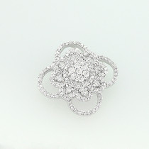 14K White Gold Diamond Flower Pendant 0.58ct