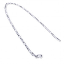 14K White Gold Figaro Chain Bracelet 5.5mm 7.5-9in