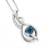 14K White Gold La Minor Blue Diamond Pendant For Women With Chain Necklace