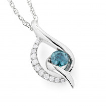 14K White Gold Ladies Blue Diamond Necklace 0.35ct La Minor
