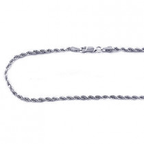 14K White Gold Mens Diamond Cut Rope Chain 2.5mm 18in - 40in