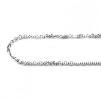 Mens 14K White Gold Rolo Chain Oval Design 4.5mm, 22in - 34in