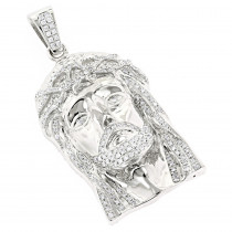 14K Yellow or White Gold Round Diamond Jesus Head Pendant for Men 1.8ct