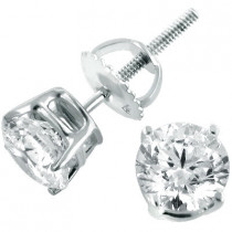 14K White Gold Round Diamond Stud Earrings 1.75ct