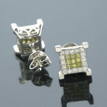 14K White Yellow Diamond Earrings Princess Cut 0.75ct