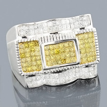 14K White Yellow Diamond Mens Ring 1.62ct