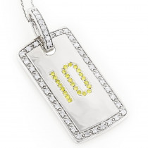 14K White Yellow Diamond Number 10 Dog Tag Pendant 1.60