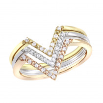 14k White Yellow Rose Gold Thin Stackable Diamond Rings Set 0.15ct Luxurman Bands