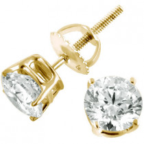 14K Yellow Gold Diamond Stud Earrings Round Cut 1.50ct