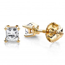 14K Yellow Gold Princess Diamond Stud Earrings 0.25ct