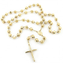 14K Yellow Gold Rosary Beads Chain Necklace 8mm 30in