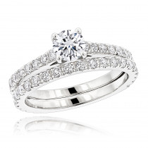 1.5 Carat Round Diamond Engagement Ring and Wedding Band Set in 18k Gold