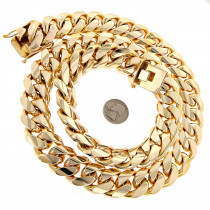 1.5 Kilo Miami Cuban Link Chain 14K Solid Gold Necklace for Men