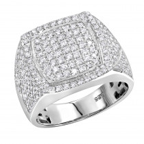 1.75ct Diamond Affordable Sterling Silver Pinky Ring for Men