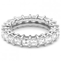 Thin 18K Gold Asscher Cut Diamond Eternity Band 4.32ct