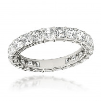 18K Gold Asscher Cut Diamond Eternity Ring 3ct Anniversary Band by Luxurman