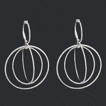 18K Gold Diamond Circle Dangle Earrings 2.25ct