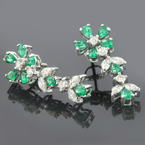 18K Gold Diamond Emerald Earrings 1.26dtw 1.63etw